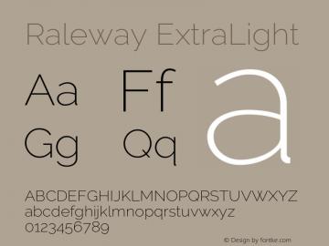 Raleway ExtraLight Version 3.000; ttfautohint (v0.96) -l 8 -r 28 -G 28 -x 14 -w