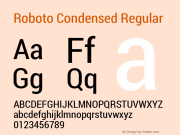Roboto Condensed Regular Version 1.100141; 2013 Font Sample