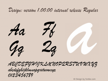 Design: version 1.00.00 internal release Regular Version 1.0 Font Sample