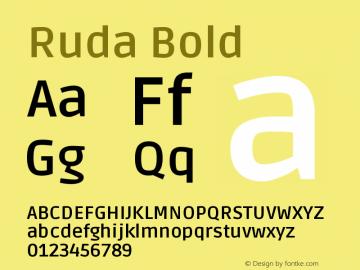 Ruda Bold Version 1.002 Font Sample