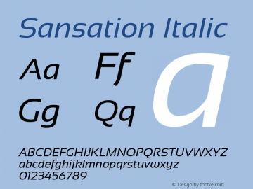 Sansation Italic Version 1.3 Font Sample