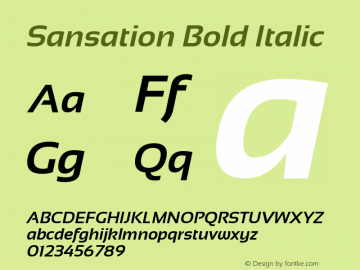 Sansation Bold Italic Version 1.3 Font Sample