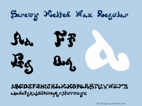 Screwy Melted Wax Regular 1999; 1.0, initial release Font Sample