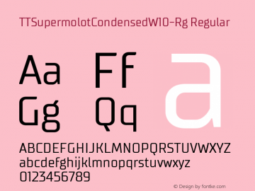 TTSupermolotCondensedW10-Rg Regular Version 1.00 Font Sample