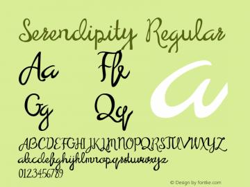 Serendipity Regular Version 1.000;PS 001.000;hotconv 1.0.70;makeotf.lib2.5.58329 Font Sample