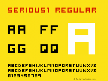 serious1 Regular 2001; 1.0, initial release Font Sample