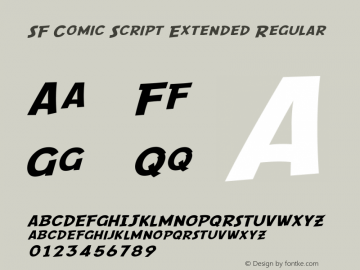 SF Comic Script Extended Regular ver 1.0; 2000. Freeware. Font Sample