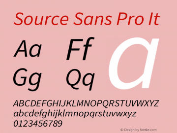 Source Sans Pro It Version 1.038;PS Version 1.0 Font Sample