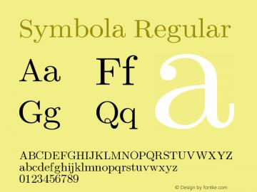 Symbola Regular Version 8.00 Font Sample
