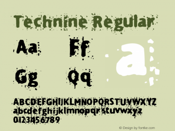 Technine Regular Macromedia Fontographer 4.1.2 7/7/97 Font Sample
