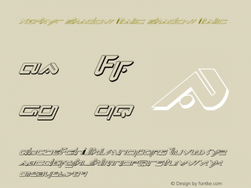 Xephyr Shadow Italic Shadow Italic 1 Font Sample