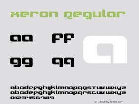 Xeron Regular Version 1.0; 2001 Font Sample