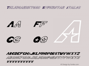 Telemarketing Superstar Italic Macromedia Fontographer 4.1 6/30/99 Font Sample