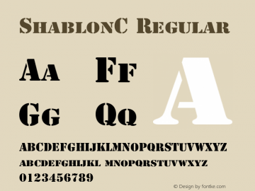 ShablonC Regular OTF 1.0;PS 001.010;Core 116;AOCW 1.0 161 Font Sample