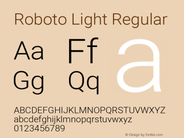 Roboto Light Regular Version 2.134; 2016; ttfautohint (v1.4.1)图片样张