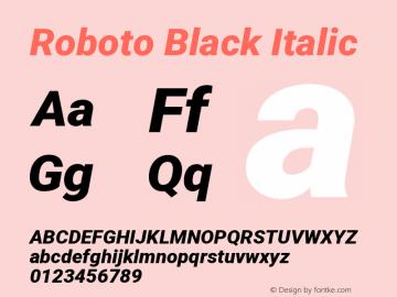 Roboto Black Italic Version 2.134; 2016; ttfautohint (v1.4.1)图片样张