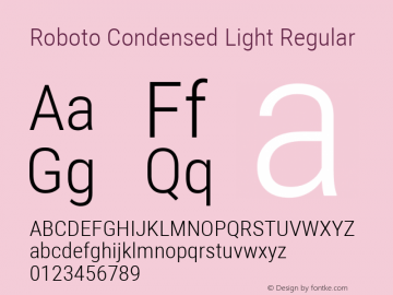 Roboto Condensed Light Regular Version 2.134; 2016; ttfautohint (v1.4.1)图片样张