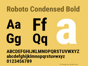 Roboto Condensed Bold Version 2.134; 2016; ttfautohint (v1.4.1) Font Sample