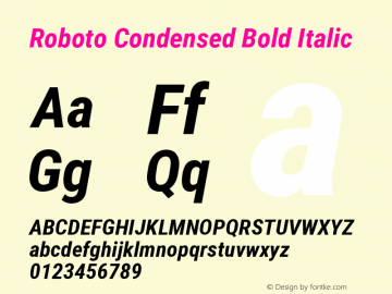 Roboto Condensed Bold Italic Version 2.134; 2016; ttfautohint (v1.4.1) Font Sample