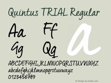 Quintus_TRIAL Regular Version 1.000 Font Sample