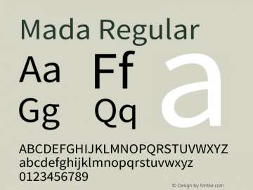 Mada Regular Version 1.004 Font Sample
