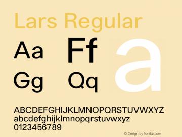 Lars Regular Version 1.002;PS 001.002;hotconv 1.0.88;makeotf.lib2.5.64775 Font Sample