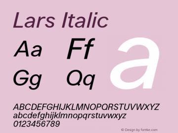 Lars Italic Version 1.002;PS 001.002;hotconv 1.0.88;makeotf.lib2.5.64775 Font Sample