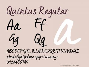 Quintus Regular Version 1.000 Font Sample