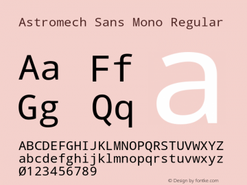 Astromech Sans Mono Regular Version 1.00 Font Sample