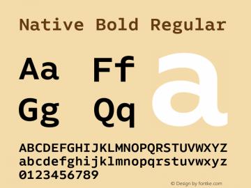 Native Bold Regular Version 1.000;PS 001.000;hotconv 1.0.88;makeotf.lib2.5.64775 Font Sample
