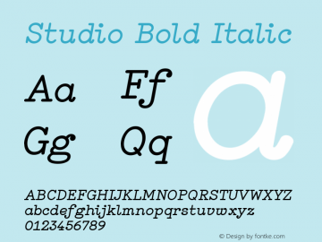 Studio Bold Italic Version 1.001图片样张
