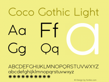 Coco Gothic Light Version 2.001 Font Sample