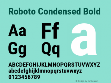 Roboto Condensed Bold Version 2.001240; 2014 Font Sample