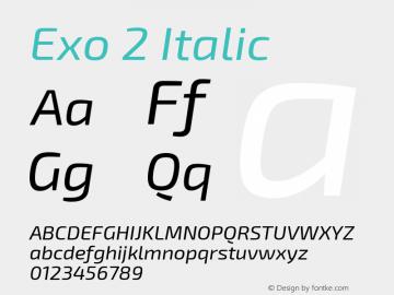 Exo 2 Italic Version 1.001;PS 001.001;hotconv 1.0.70;makeotf.lib2.5.58329; ttfautohint (v0.92) -l 8 -r 50 -G 200 -x 14 -w