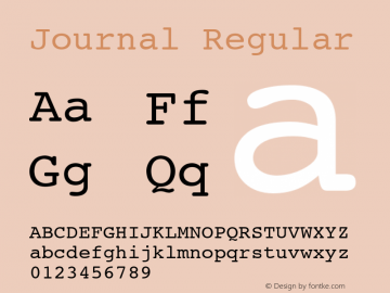 Journal Regular Font Version 2.6; Converter Version 1.10 Font Sample