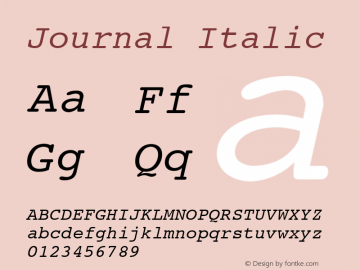 Journal Italic Font Version 2.6; Converter Version 1.10 Font Sample