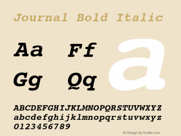 Journal Bold Italic Font Version 2.6; Converter Version 1.10 Font Sample