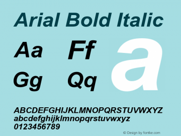 Arial Bold Italic Version 5.00.2x Font Sample