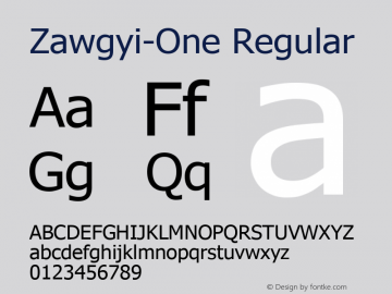 Zawgyi-One Regular 3.0 December 4, 2007 Font Sample