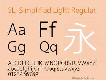 SL-Simplified Light Regular Version 2.0 Font Sample