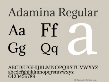 Adamina Regular Version 1.011 Font Sample
