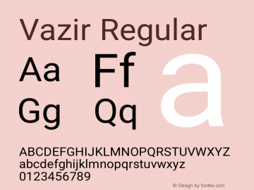 Vazir Regular Version 4.4.0 Font Sample