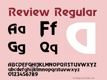 Review Regular 0.0 Font Sample