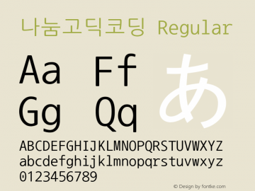 나눔고딕코딩 Regular Version 2.500;PS 1;hotconv 16.6.51;makeotf.lib2.5.65220 Font Sample