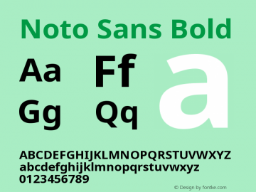Noto Sans Bold Version 1.06 uh Font Sample