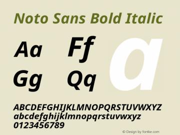 Noto Sans Bold Italic Version 1.06 Font Sample
