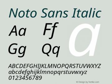 Noto Sans Italic Version 1.06 Font Sample