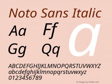 Noto Sans Italic Version 1.06 uh Font Sample
