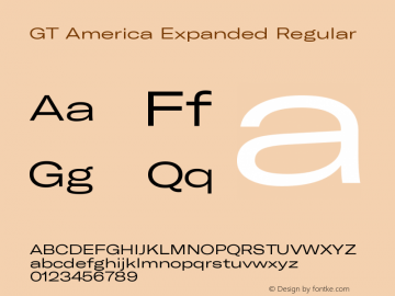 GT America Expanded Regular Version 5.001;PS 005.001;hotconv 1.0.88;makeotf.lib2.5.64775 Font Sample