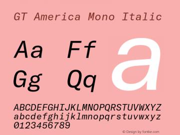 GT America Mono Italic Version 2.001;PS 002.001;hotconv 1.0.88;makeotf.lib2.5.64775 Font Sample